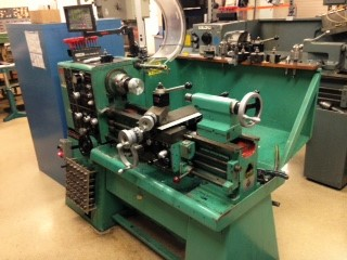 Manual lathe in machine shop