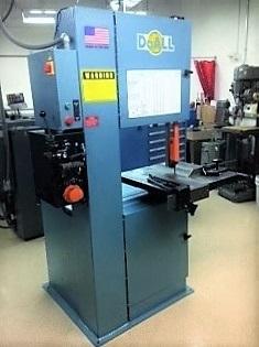 Vertical saw in machine shop